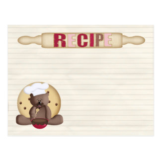 tarjeta de la receta de la galleta del peluche postal