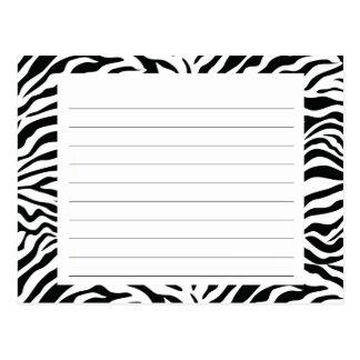Tarjeta de la receta de la raya de la cebra postales