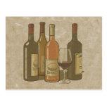 Tarjeta de la receta de las botellas de vino del v postales