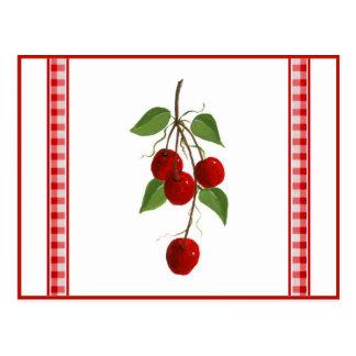 Tarjeta de la receta de las cerezas postales