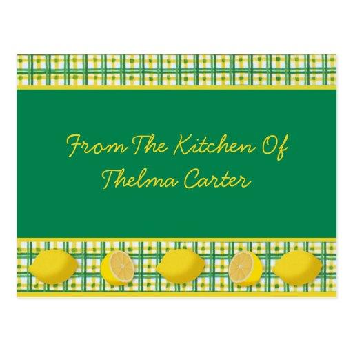 Tarjeta de la receta de los limones tarjetas postales