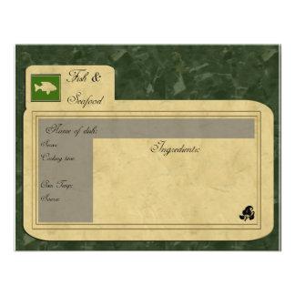 tarjeta de la receta de los pescados comunicados personales