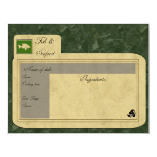 """tarjeta de la receta de los pescados invitación 4.25"""" x 5.5"""""""