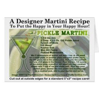 Tarjeta de la receta de Martini de la salmuera