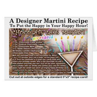 Tarjeta de la receta de Martini de la torta de cum