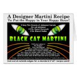Tarjeta de la receta de Martini del gato negro