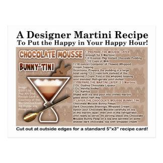 Tarjeta de la receta de Pascua Martini del conejit Tarjeta Postal