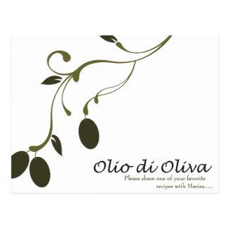 Tarjeta de la receta del aceite de oliva tarjeta postal