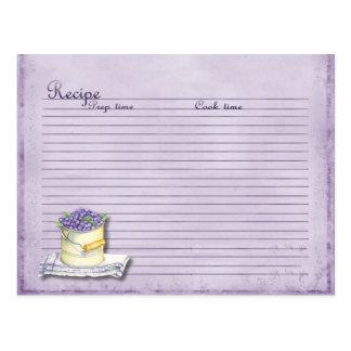 tarjeta de la receta del arándano postal