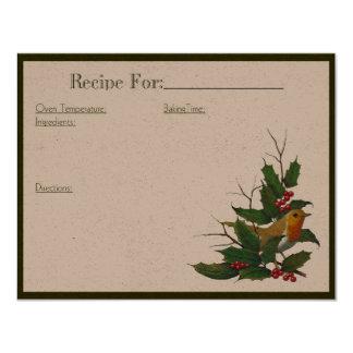 """Tarjeta de la receta del arte del navidad: invitación 4.25"""" x 5.5"""""""