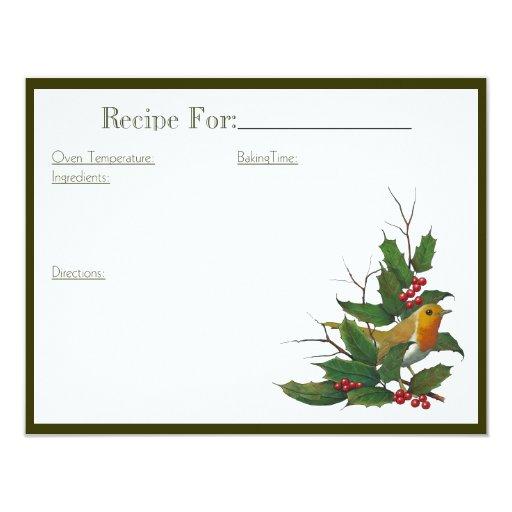 Tarjeta de la receta del arte del navidad: invitación 10,8 x 13,9 cm