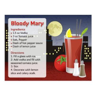 Tarjeta de la receta del bloody mary tarjetas postales