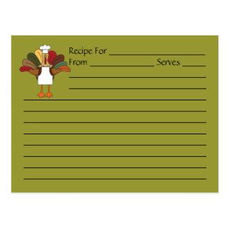 Tarjeta de la receta del cocinero de Tucker Turquí Postal