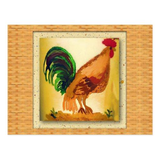 Tarjeta de la receta del gallo del país tarjeta postal