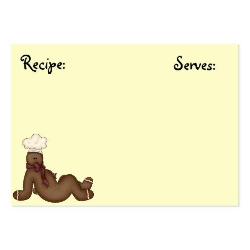 Tarjeta de la receta del hombre de pan de jengibre tarjeta de visita