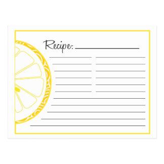 Tarjeta de la receta del limón postal