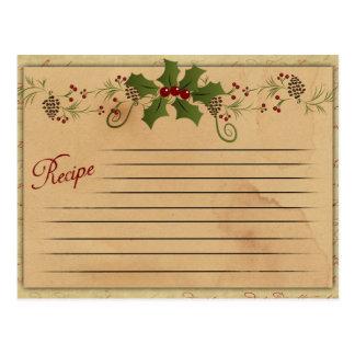 Tarjeta de la receta del navidad del vintage postal