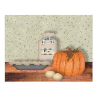 Tarjeta de la receta del pastel de calabaza de la  tarjeta postal