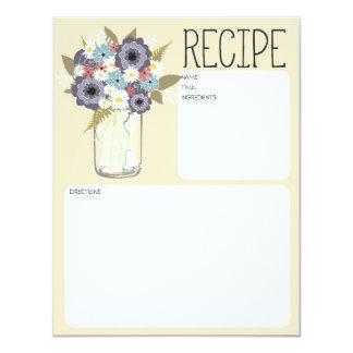 Tarjeta de la receta del tarro de albañil del invitacion personalizada