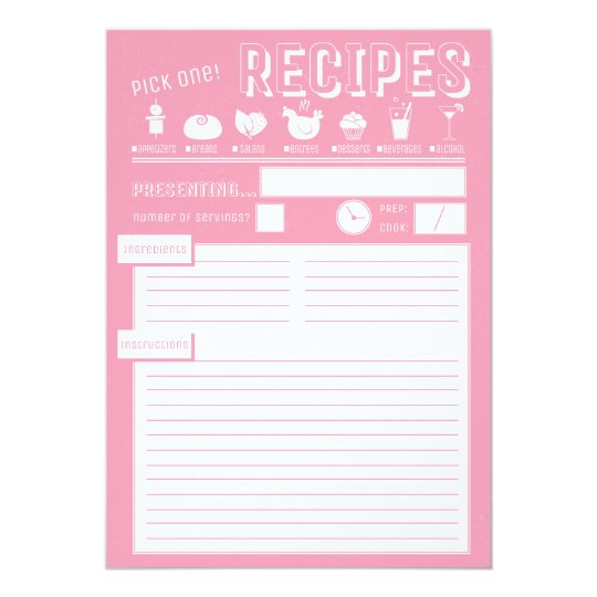 """Tarjeta de la receta en rosa cosquilleado invitación 5"""" x 7"""""""
