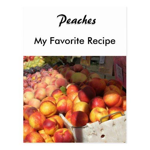Tarjeta de la receta - melocotones postales