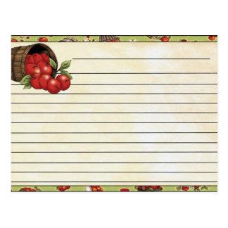 Tarjeta de la receta postal