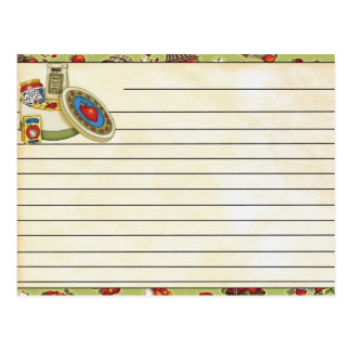 Tarjeta de la receta postales