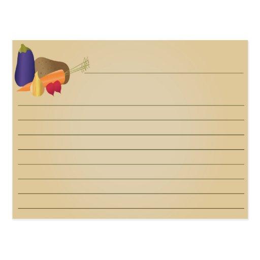 Tarjeta de la receta - verduras tarjeta postal
