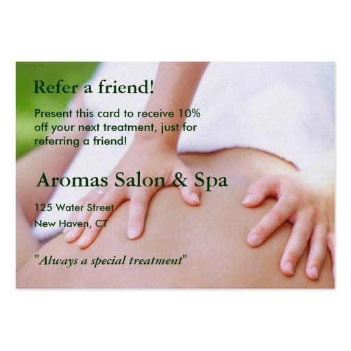 Tarjeta de la remisión con las manos del masaje tarjetas de negocios