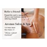 Tarjeta de la remisión con las manos del masaje tarjetas personales