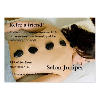 Tarjeta de la remisión con las piedras del masaje tarjetas de visita grandes