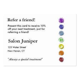 Tarjeta de la remisión con siete chakras tarjetas de visita grandes