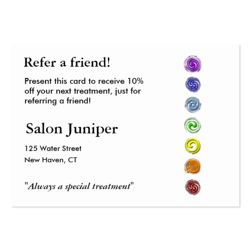 Tarjeta de la remisión con siete chakras tarjeta de visita