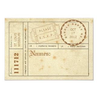 Tarjeta de la respuesta de la etiqueta del boleto invitación 8,9 x 12,7 cm