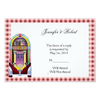tarjeta de la respuesta de la máquina tocadiscos invitación 8,9 x 12,7 cm
