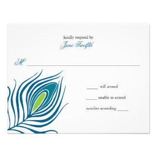 Tarjeta de la respuesta de la pluma del pavo real anuncios personalizados