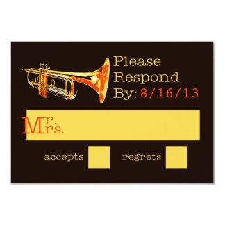 """Tarjeta de la respuesta de la trompeta invitación 3.5"""" x 5"""""""