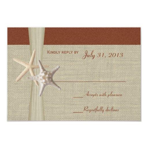 Tarjeta de la respuesta de las estrellas de mar de invitación 8,9 x 12,7 cm