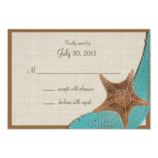 """Tarjeta de la respuesta de las estrellas de mar invitación 3.5"""" x 5"""""""