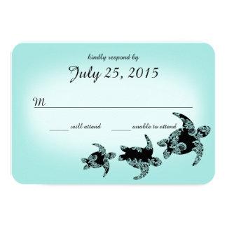 """Tarjeta de la respuesta de las tortugas de mar invitación 3.5"""" x 5"""""""