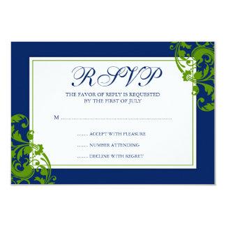 Tarjeta de la respuesta de los remolinos del invitación 8,9 x 12,7 cm