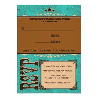 Tarjeta de la respuesta de Nashville:  Turquesa Invitación 11,4 X 15,8 Cm