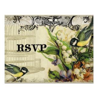 Tarjeta de la respuesta de RSVP - jaula de pájaros