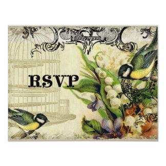 """Tarjeta de la respuesta de RSVP - jaula de pájaros Invitación 4.25"""" X 5.5"""""""