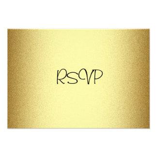 Tarjeta de la respuesta de RSVP todo el oro elegan Invitación Personalizada
