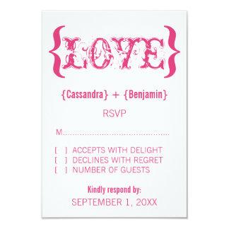 """Tarjeta de la respuesta del abrazo del amor, rosa invitación 3.5"""" x 5"""""""