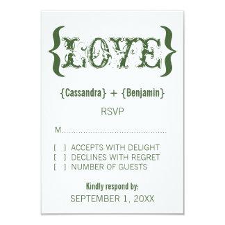 """Tarjeta de la respuesta del abrazo del amor, verde invitación 3.5"""" x 5"""""""