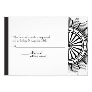 tarjeta de la respuesta del art déco 3.5x5