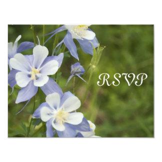 """Tarjeta de la respuesta del boda de Columbine azul Invitación 4.25"""" X 5.5"""""""