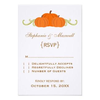 Tarjeta de la respuesta del boda de la caída de lo invitación personalizada